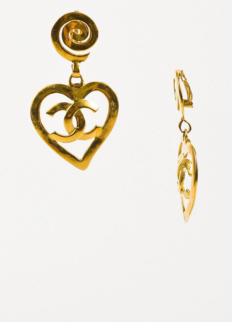 Chanel Gold Toned 'CC' Logo Heart Drop Clip On Statement Earrings Sideview