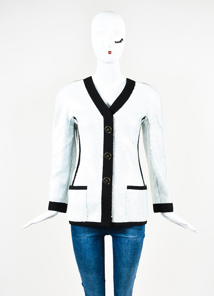 Chanel Boutique Black & White Sequined 'CC' Button Structured Jacket Front 2