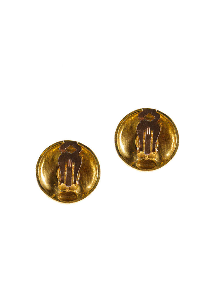 Chanel Gold Toned Coco Chanel Portrait Round Earrings Backview