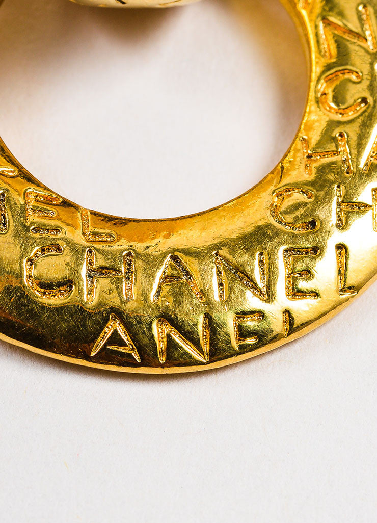 Chanel Gold Toned Letter Script Convertible Post Hoop Clip On Earrings Brand