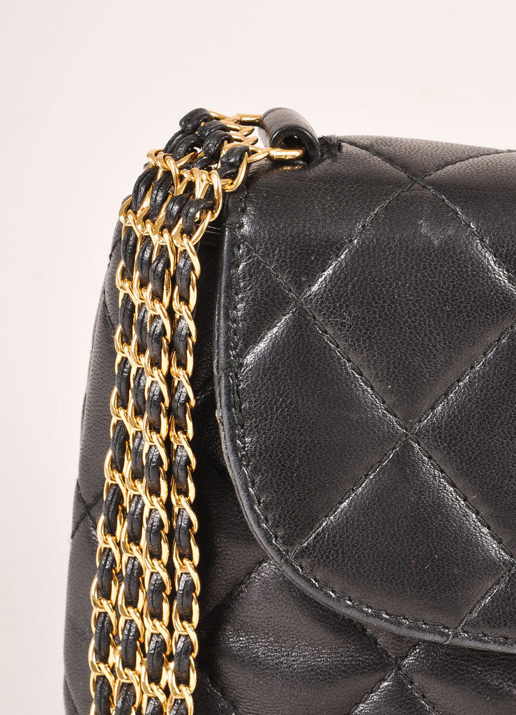 "Chanel Black and Gold Toned Quilted Leather ""CC"" Turnlock Chain Strap Mini Flap Bag Detail 2"