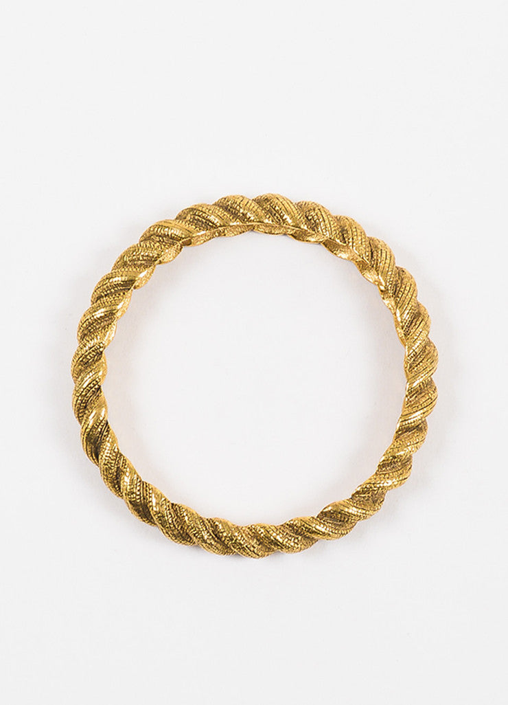 Chanel Gold Toned Textured Etched Rope Set of 3 Bangle Bracelets Topview