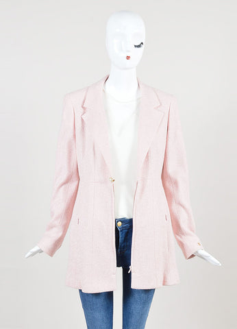 Chanel Pink Silk Knit Pearl Button Long Structured Jacket Frontview