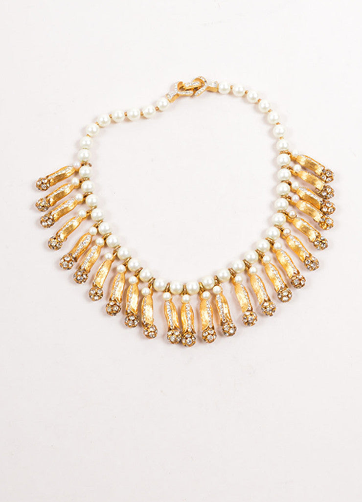 Vintage Faux Pearl and Gold Toned Rhinestone Dangling Choker Necklace Frontview