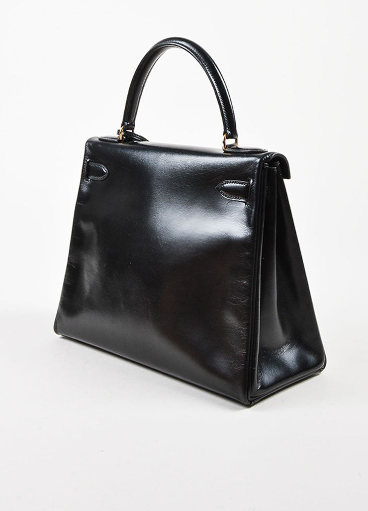 "Hermes Black Box Calf Leather ""Kelly"" Flap Handbag Sideview"