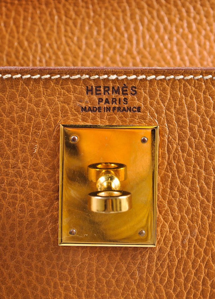"Hermes Camel and Gold Toned Clemence Leather ""Kelly 32cm"" Handbag and Scarf Brand"