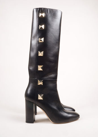 "Valentino Black and Gold Toned Leather ""Rockstud"" Knee High Chunky Heel Boots Sideview"