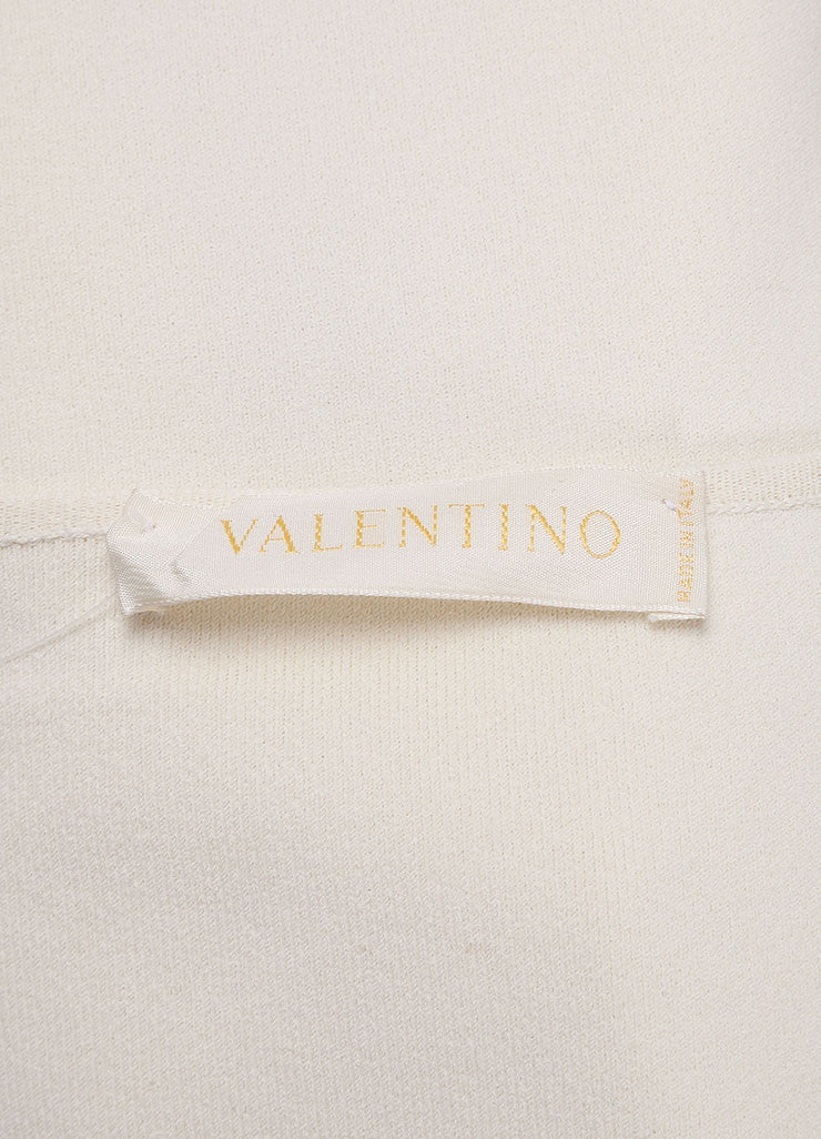 Valentino Cream Ribbed Knit Lace Satin Trim Crop Sleeve Cardigan Sweater Brand