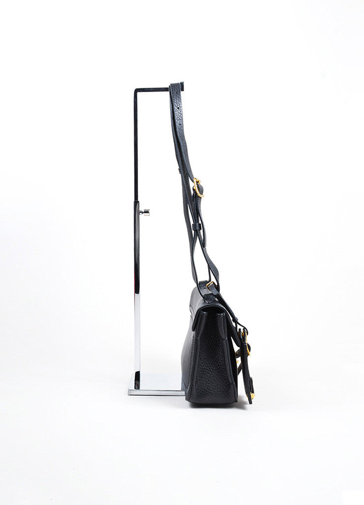 "Black and Gold Toned Grain Leather Valentino ""Eye On You"" Shoulder Bag Sideview"