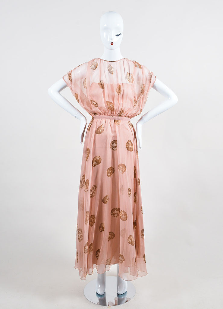 Pale Pink and Brown Valentino Silk Seashell Printed Blouson Gown Frontview