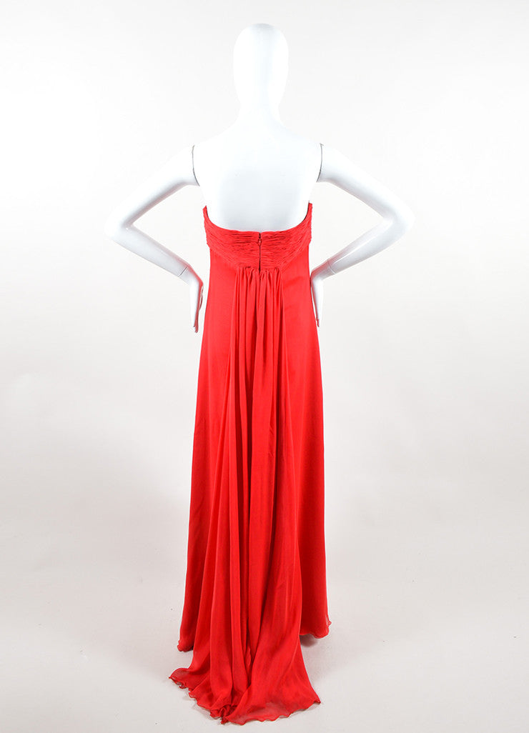 Valentino Red Chiffon Sweetheart Strapless Ruched Straight Empire Gown Backview