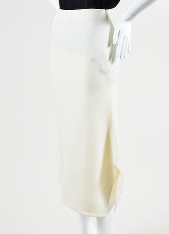 Cream •ÈÀVictoria Beckham Wool Asymmetrical Vent Pencil Midi Skirt Sideview