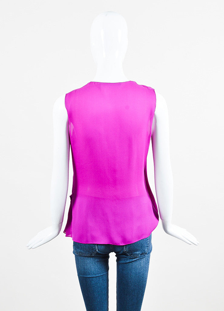 Purple Wes Gordon Silk Draped Wrap Front Sleeveless Blouse Top Back