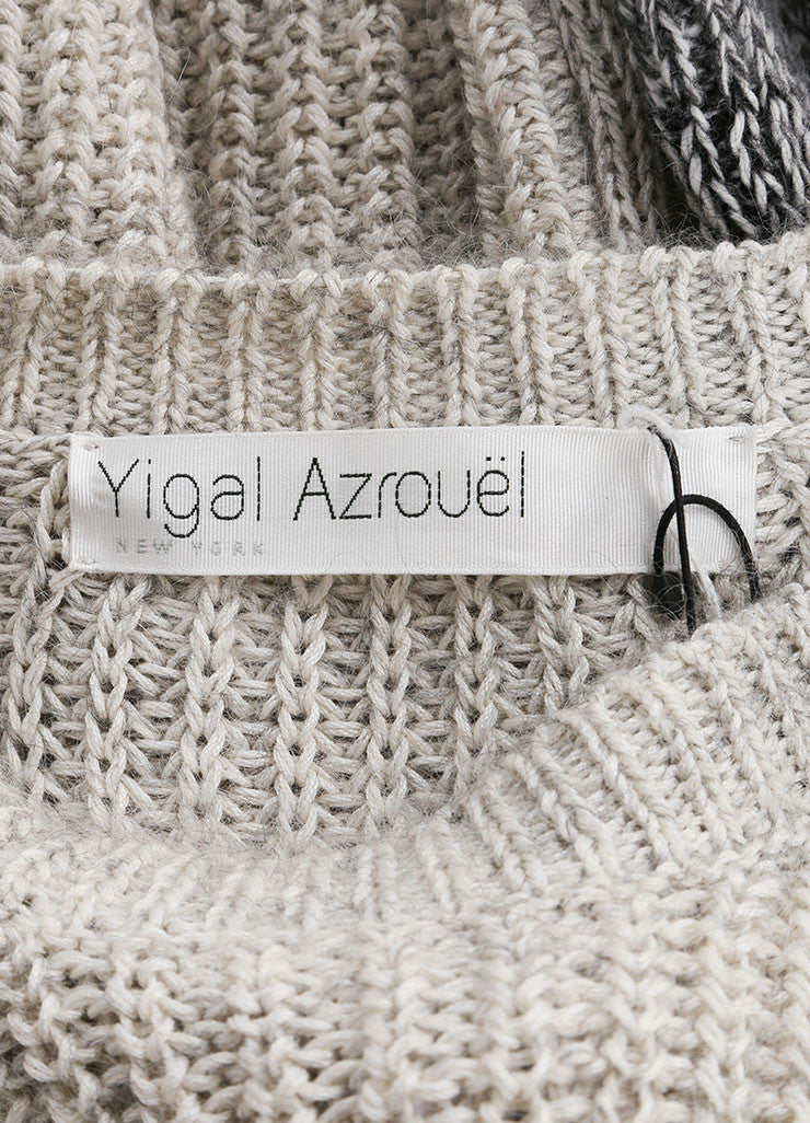 Yigal Azrouel Grey Cotton and Wool Varsity Stripe Pull Over Sweater Brand