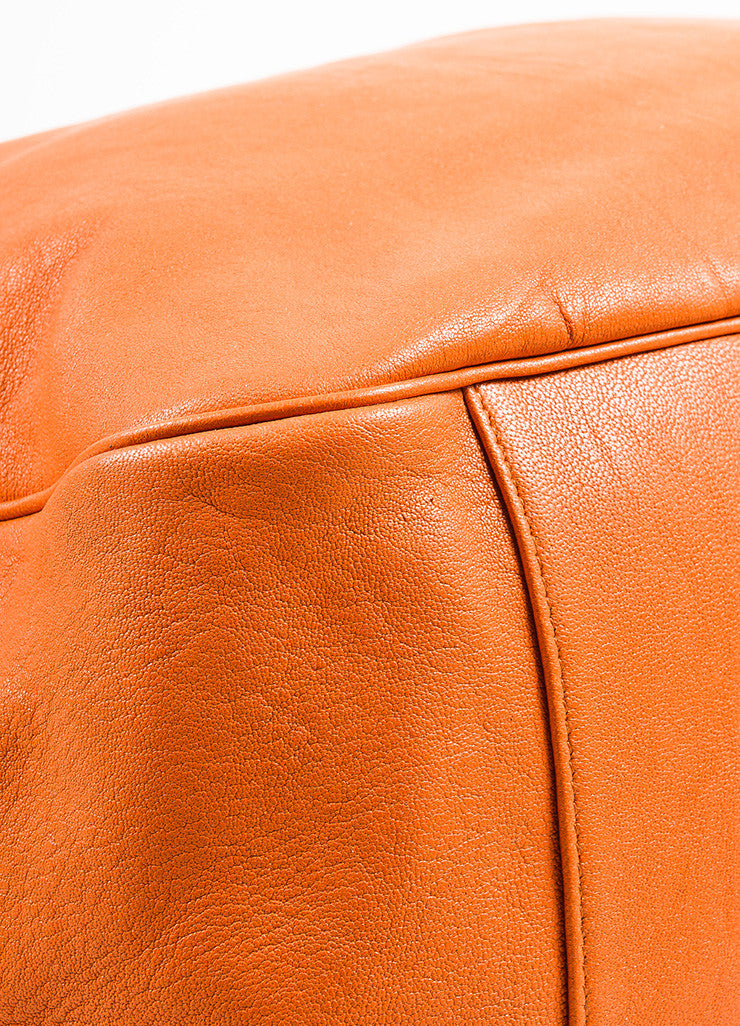 "Yves Saint Laurent Orange Leather ""Roady"" Tote Bag Detail"