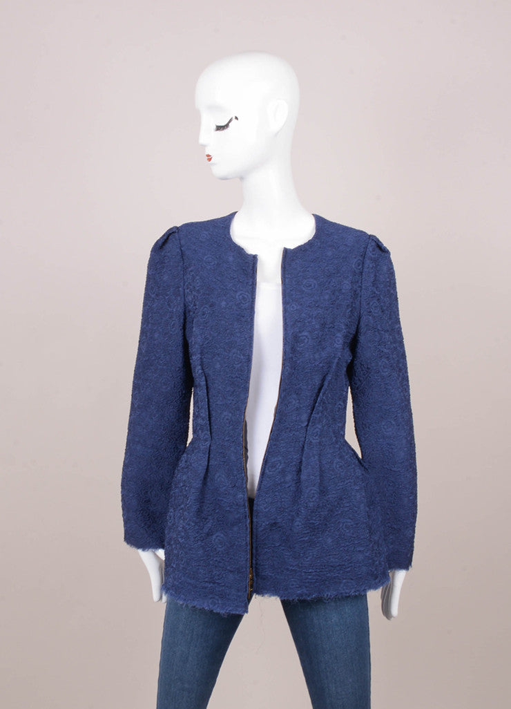 New With Tags Navy and Black Floral Textured Silk Jacket