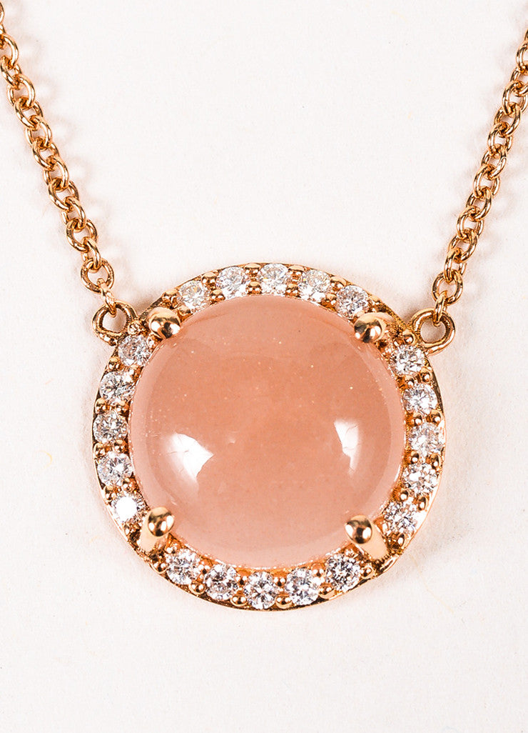"Tacori 18K Rose Gold Moonstone Diamond ""Petite Cabochon"" Necklace Detail 2"