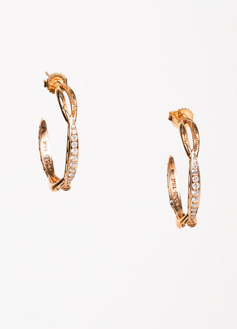 Tacori 18K Rose Gold Diamond Open Hoop Earrings Front