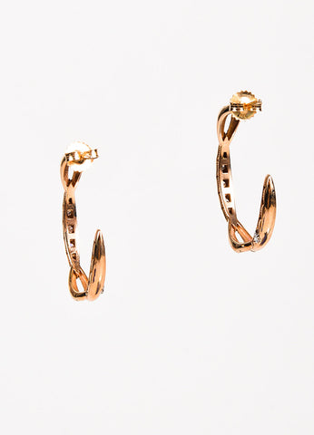 Tacori 18K Rose Gold Diamond Open Hoop Earrings back