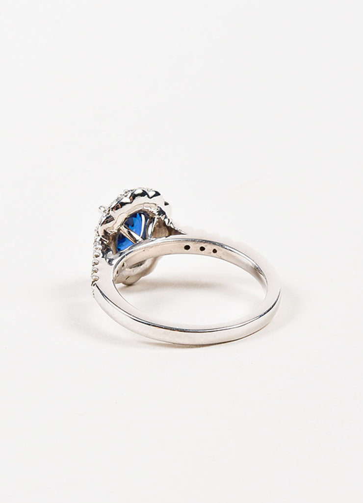 "14K White Gold, Blue Sapphire, and Diamond ""Kate Middleton"" Engagement Ring Backview"