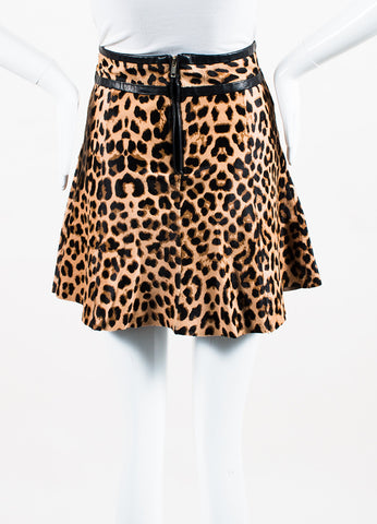 A.L.C. Black and Tan Leather and Pony Hair Leopard Spot Patterned Mini Skirt Frontview