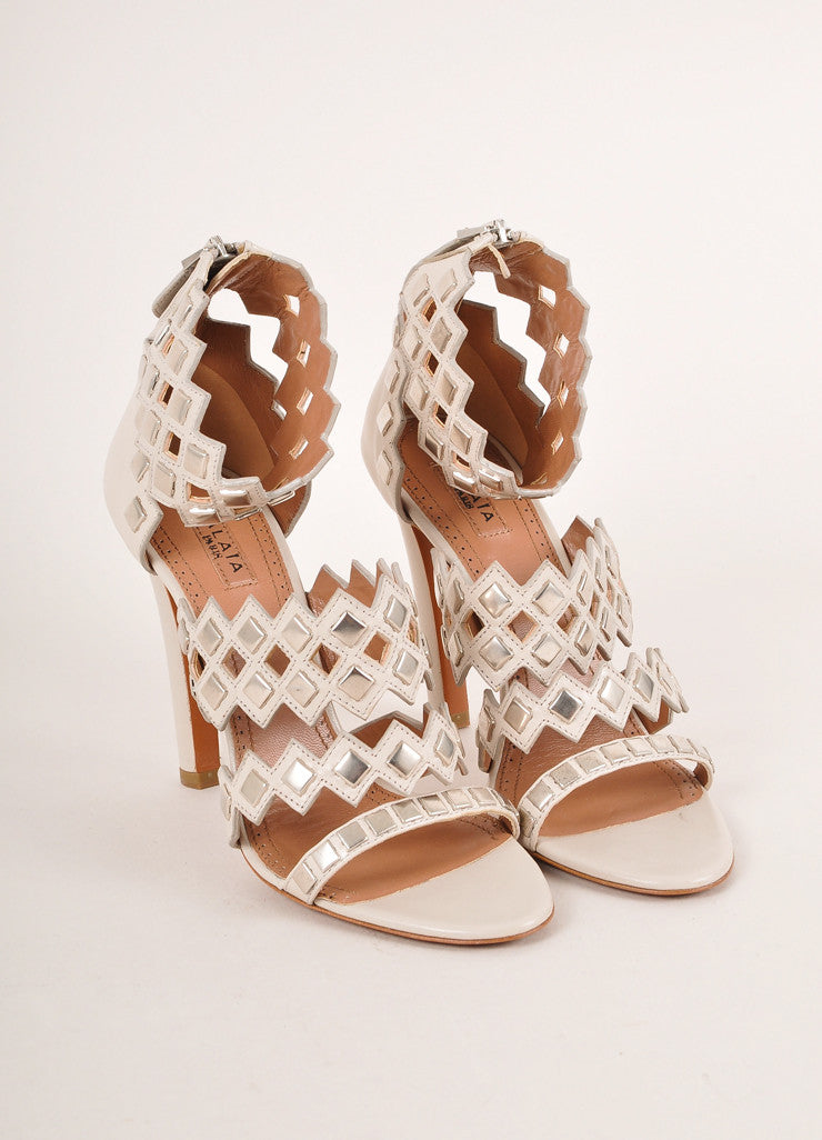 Alaia Grey and Silver Toned Studded Strappy Leather High Heel Sandals Frontview