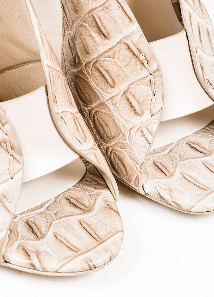 "Taupe Grey Alexander Wang ""Clara"" Croc Embossed Leather Sandals Detail"