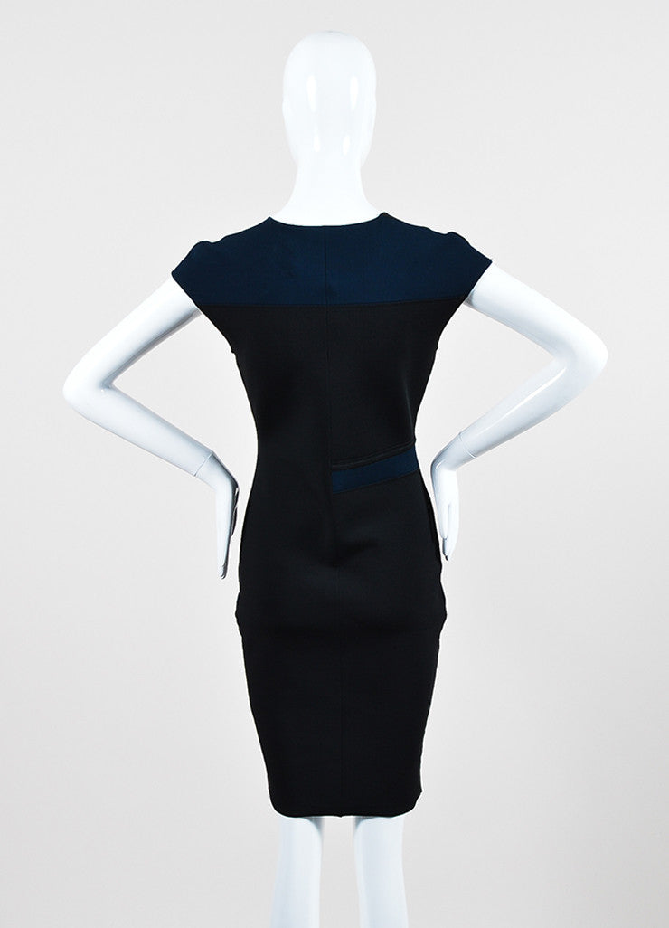 Navy Black Alexander Wang Stretch Knit Color Block Dress Backview