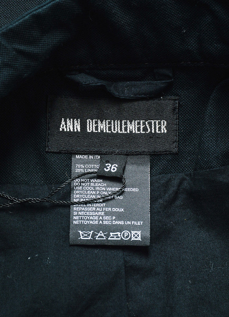 Ann Demuelemeester Black Cotton and Linen Zip Detail Double Belted Coat Brand