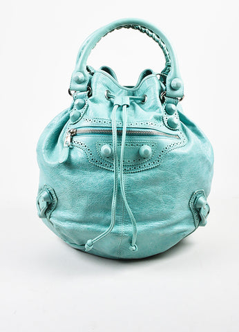 "Balenciaga Mint Green Leather ""Giant 21 Covered Brogues Pompon"" Bag Frontview"