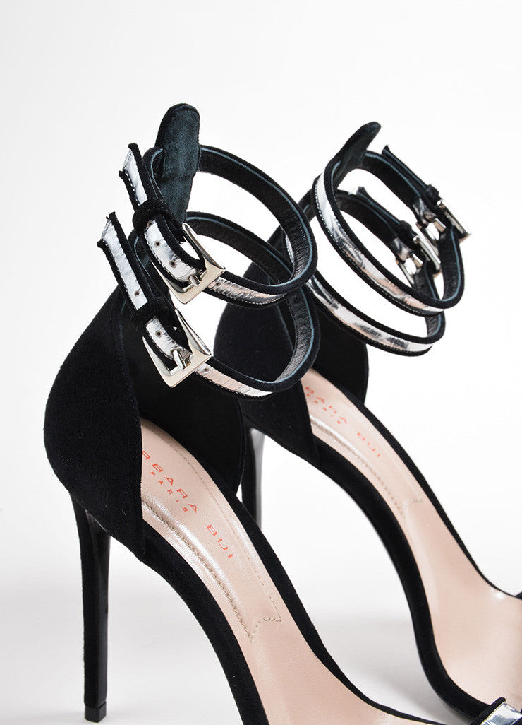 "Barbara Bui Black and Silver Suede ""Cameron"" Ankle Strap Sandals Detail"