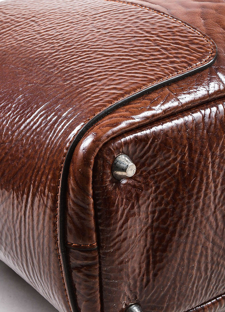 Brunello Cucinelli Brown Patent Grain Leather Oversized Shoulder Tote Bag Detail