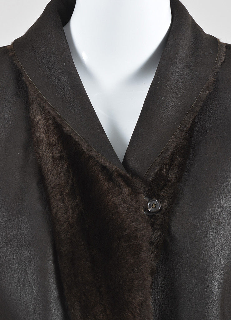 Brown Brunello Cucinelli Shearling and Cashmere Mixed Media Shawl Jacket Detail