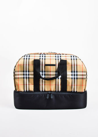 Burberry Golf Tan, Black, and Red Waterproof Nova Check Plaid Travel Duffel Bag Frontview