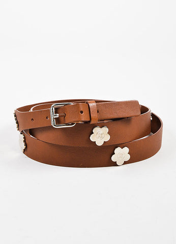 Celine Brown Leather Silver Toned Flower Embellished Double Wrap Belt Frontview