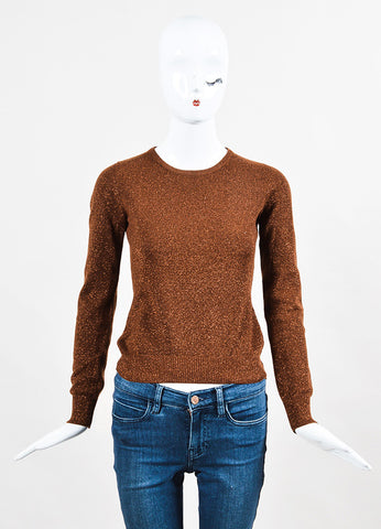 Celine Brown Metallic Cashmere Long Sleeve Sweater front