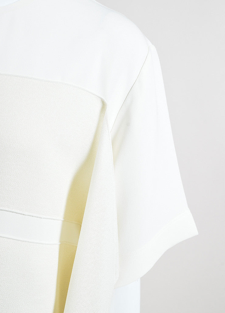 Celine Cream Silk Contrasting Ribbon Short Sleeve Oversized Top Detail