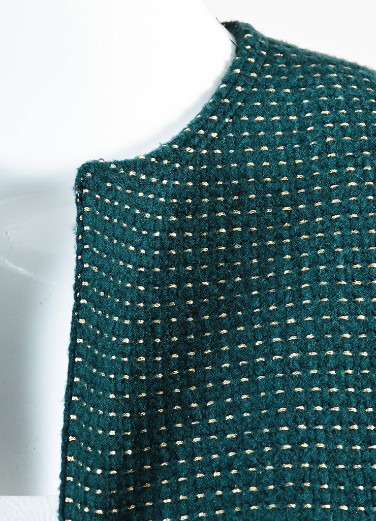 Chanel Hunter Green and Gold Wool Dotted Collarless Coat Detail