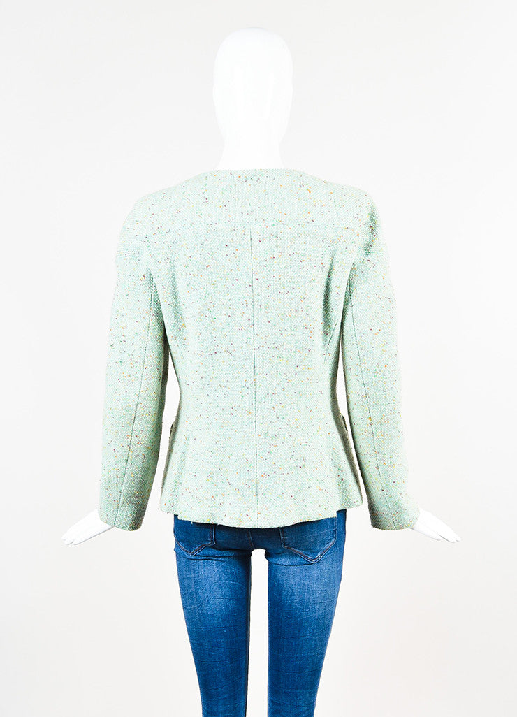 Chanel Light Green Wool Blend Color Flecked 'CC' Button Tweed Jacket Backview