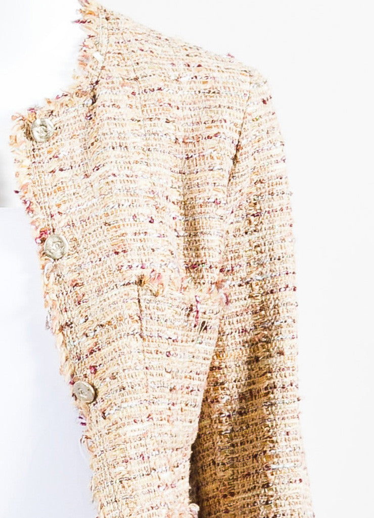 Chanel Beige, Maroon, and Multicolor Tweed Fringe Trim Button Down Jacket Detail
