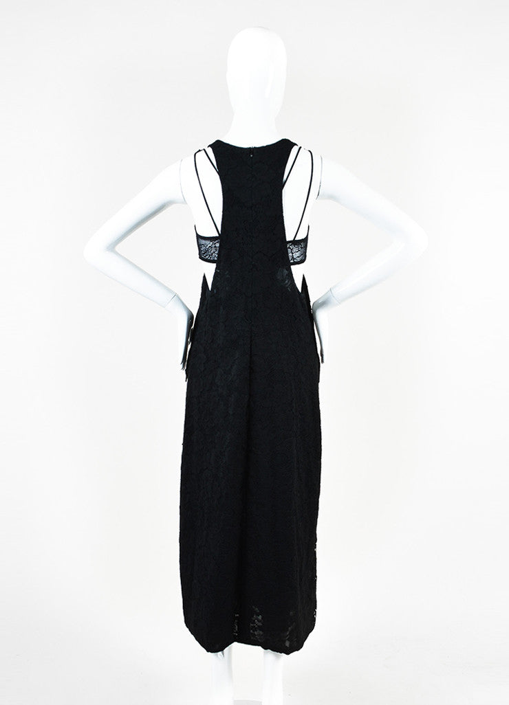Chanel Black Cotton Lace Sleeveless Scoop Neck Maxi Dress Backview