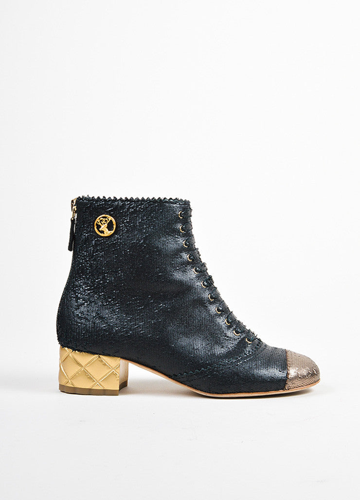 Black and Gold Chanel Leather Lace Up Quilted Heel Ankle Boots Sideview