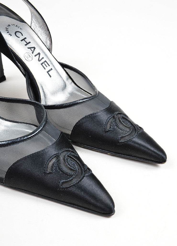 Black Satin Mesh Chanel 'CC' Logo Pointed Toe Slingback Pumps Detail