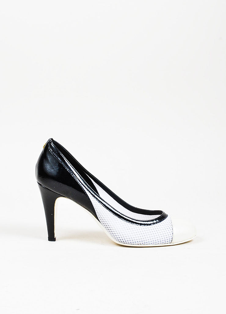 Black, White, and Cream Chanel Patent Leather Mesh Contrast Cap Toe Pumps Sideview