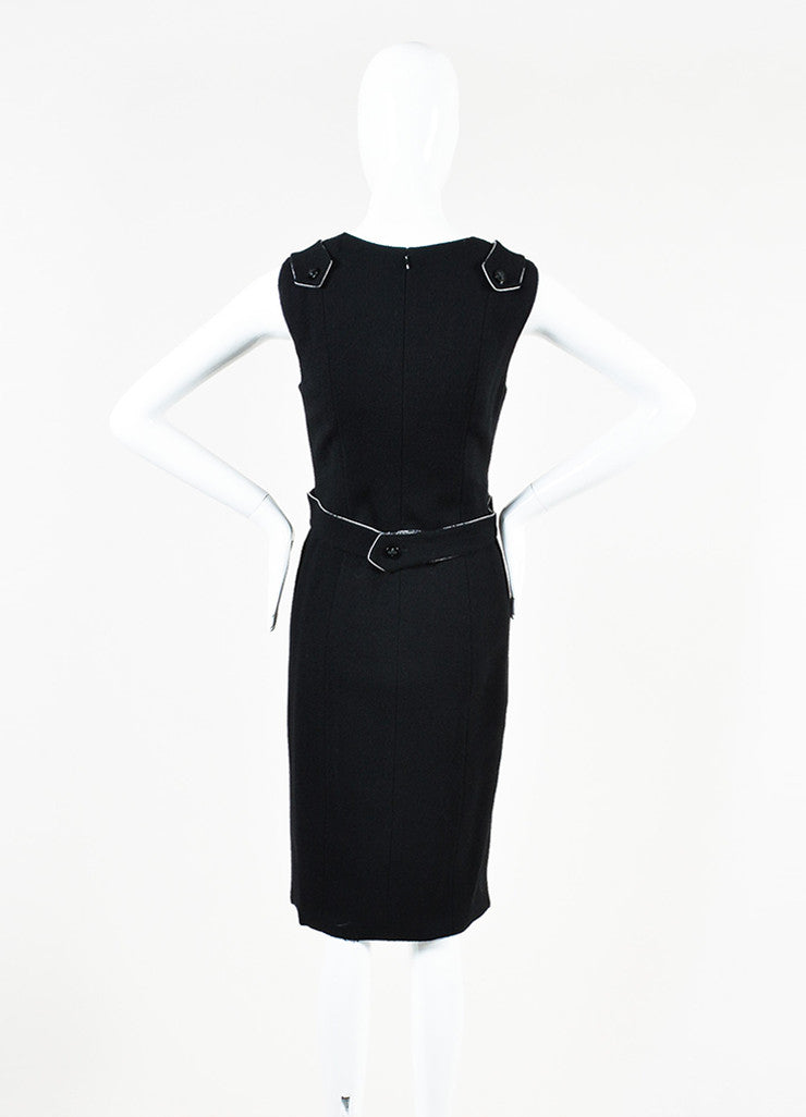 Black Chanel Wool Sleeveless Pave Crystal 'X' Button Dress Back