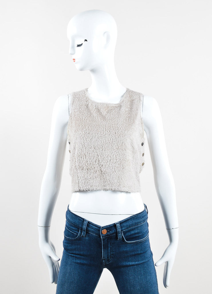 Chanel Taupe Terry Chenille Side Button Sleeveless Crop Top Frontview