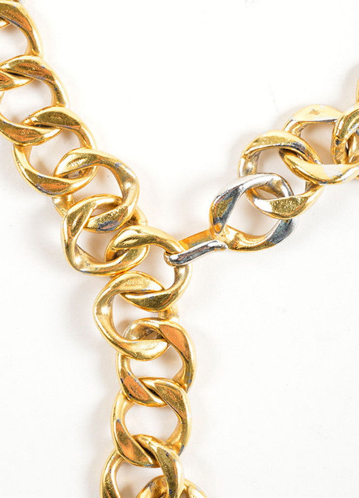 "Chanel Gold Toned Chain Link Coco Chanel Coin ""CC"" Medallion Belt Detail"