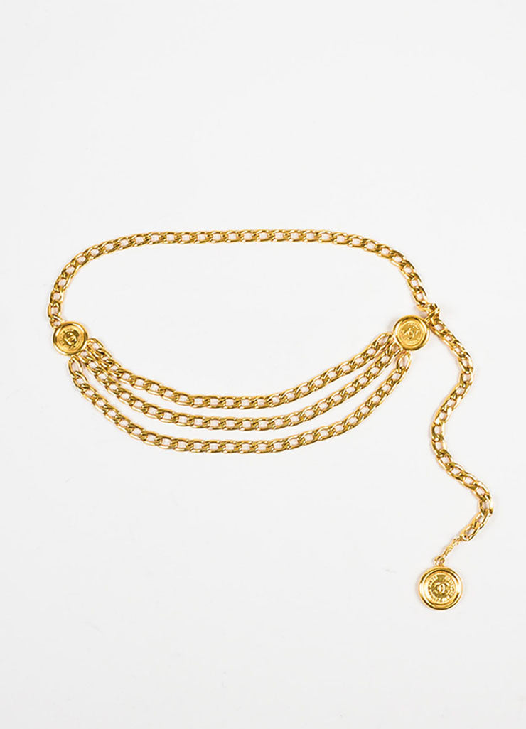 Chanel Gold Toned Triple Strand Chain Link 'CC' Coin Medallion Belt Frontview
