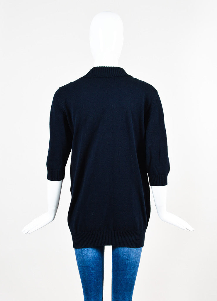 Chanel Navy Blue and Gold Toned Cotton Rib Knit Pocket Half Sleeve Sweater Backview