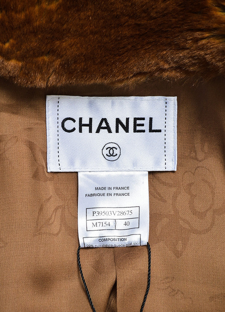 Brown and Cream Chanel Suede Tweed Striped Trim Fantasy Fur Coat Brand